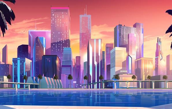 Картинка Закат, Дома, Море, Музыка, Город, Неон, Берег, Набережная, Стиль, Пальмы, Здания, Фон, 80s, Style, Neon, …