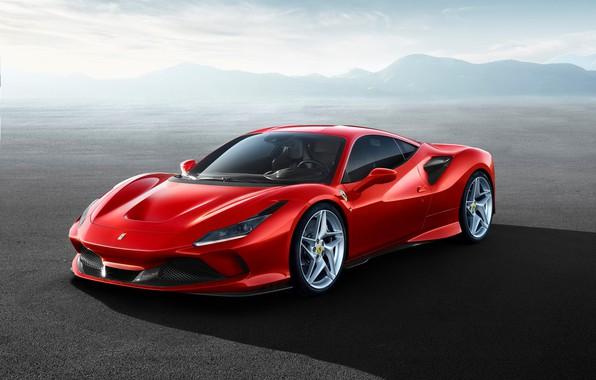 Картинка машина, небо, горы, фары, оптика, Ferrari, спорткар, F8 Tributo