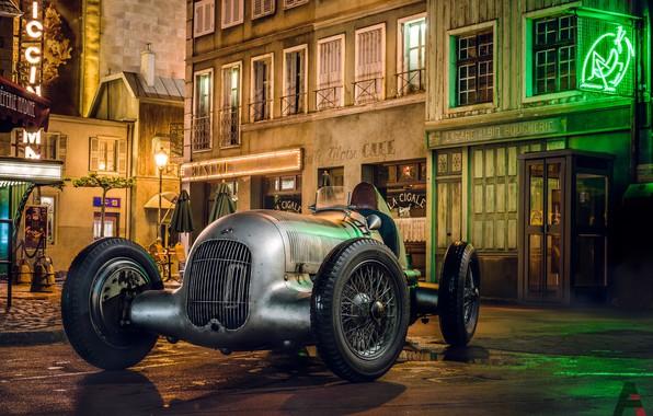 Картинка Авто, Ночь, Город, Ретро, Машина, Mercedes, Car, Mercedes Benz, Болид, Рендеринг, Retro, Silver Arrow, Transport ...