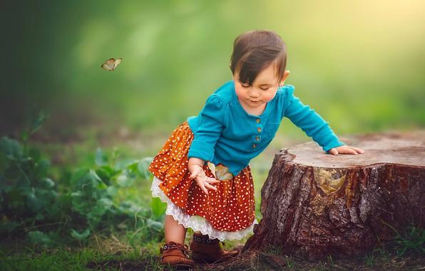 Картинка бабочки, природа, пень, девочка, малышка, ребёнок, Edie Layland