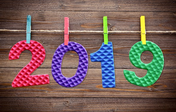 Картинка фон, colorful, Новый Год, цифры, wood, background, New Year, Happy, 2019