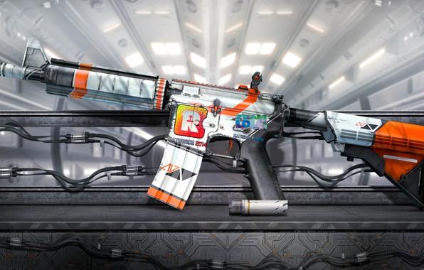 Картинка wallpaper, white, game, CSGO, SCI FI, M4A4, Counter Strike Global Offensive, Aziimov, Reason