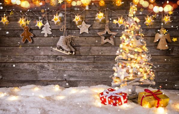 Картинка Рождество, подарки, Новый год, ёлочка, гирлянды