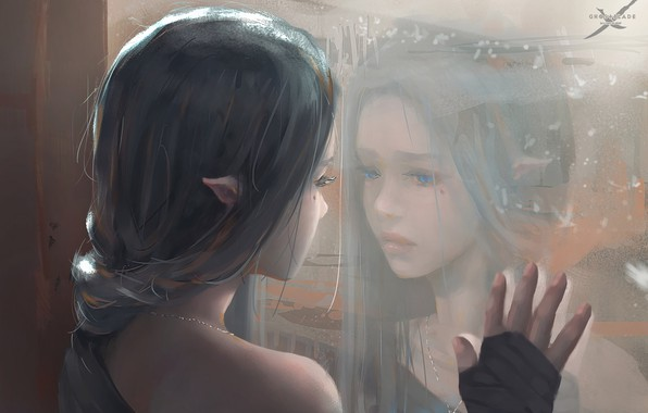 Картинка girl, fantasy, blue eyes, mood, sadness, braid, window, face, elf, reflection, digital art, artwork, princess, …