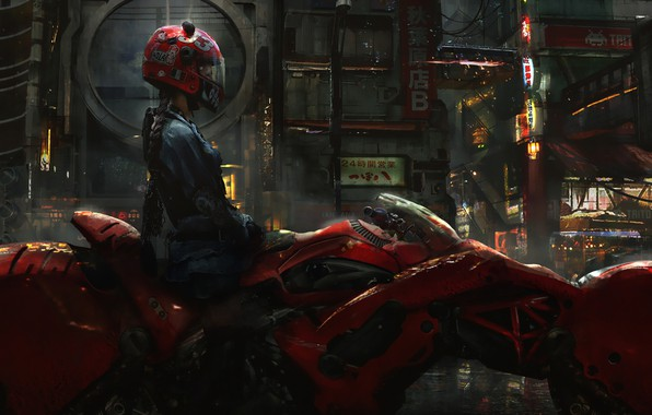 Картинка Девушка, Город, Будущее, Girl, Байк, Мотоцикл, Арт, Concept Art, Science Fiction, Biker, Cyberpunk, Eddie Mendoza, …