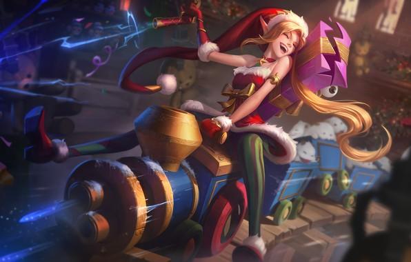 Картинка настроение, праздник, эльф, игра, новый год, фэнтези, арт, подарки, Riot Games, Ambitious Elf Jinx, Jem …
