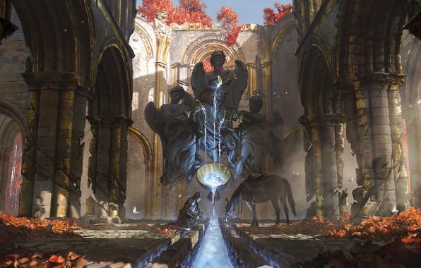 Картинка sword, fantasy, armor, weapon, water, angels, ruins, horse, digital art, artwork, environment, warrior, fantasy art, …
