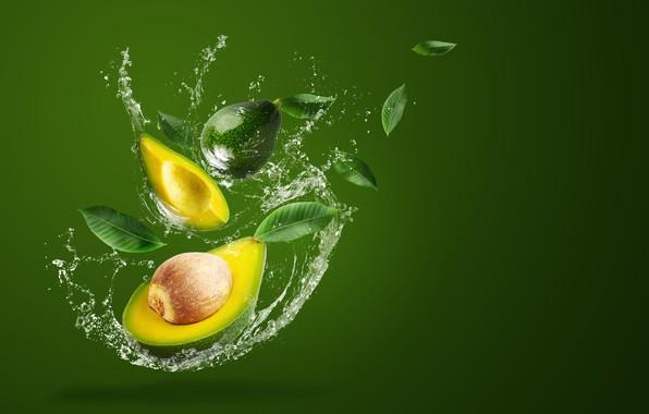 Картинка вода, брызги, зеленый, фон, всплеск, авокадо