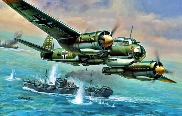 Картинка море, взрывы, судно, Junkers, Ju-88, скоростной бомбардировщик, Ju.88A-4, Werner Baumbach, Kampfgeschwader 30 ''Adler''