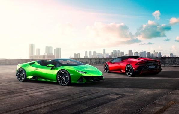 Картинка машина, небо, облака, здания, Lamborghini, спорткар, Spyder, Evo, Huracan