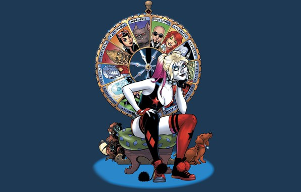 Картинка fantasy, dog, artwork, superhero, fantasy art, DC Comics, sitting, Harley Quinn, fantasy girl, Harleen Frances …