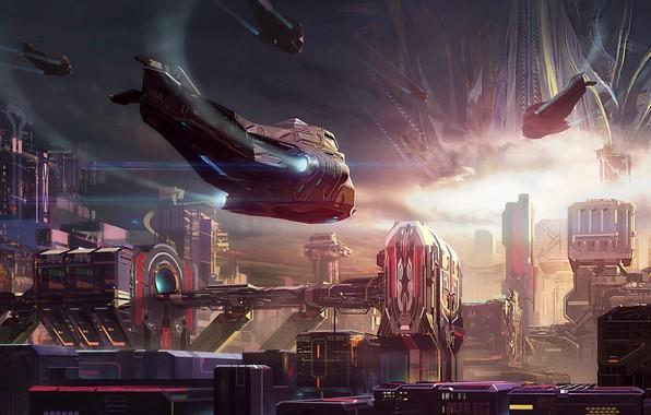 Картинка city, fantasy, science fiction, sci-fi, digital art, buildings, artwork, skyscrapers, fantasy art, futuristic, Spaceships