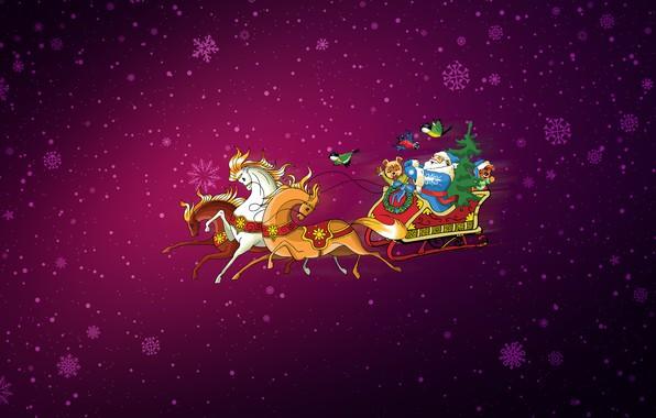 Картинка Минимализм, Снег, Рождество, Снежинки, Фон, Новый год, Лошади, Кони, Праздник, Арт, Дед Мороз, Christmas, Art, …
