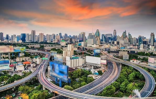 Картинка город, здания, дороги, реклама, Тайланд, Бангкок, экраны