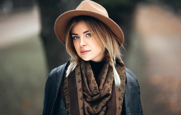 Картинка взгляд, модель, портрет, шляпа, макияж, куртка, прическа, блондинка, платок, косичка, боке, Olesya, Ivan Proskurin