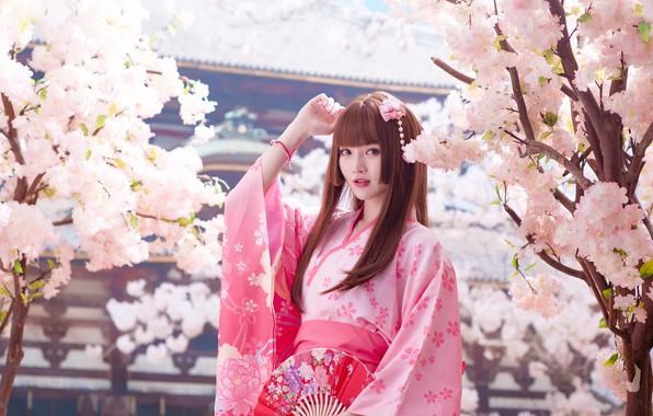 Картинка взгляд, девушка, свет, деревья, ветки, природа, лицо, стиль, портрет, весна, сад, сакура, веер, розовое, пагода, …
