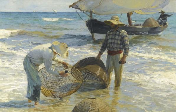 Картинка 1895, Spanish painter, Valencian fisherman, Валенсийский рыбак, Joaquín Sorolla y Bastida, испанский живописец, Хоаки́н Сорóлья-и-Басти́да