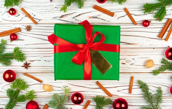 Картинка шарики, подарок, игрушки, Новый год, корица