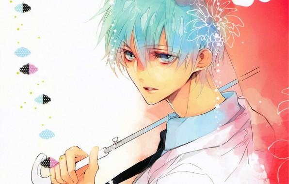 Картинка взгляд, зонт, ручка, галстук, парень, голубые волосы, art, kuroko tetsuya, баскетбол Куроко, вполоборота, Kuroko no …