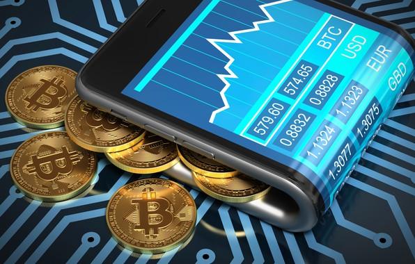 Картинка смартфон, smartphone, coins, bitcoin, биткоин, btc