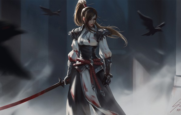 Картинка взгляд, девушка, птицы, оружие, воин, фэнтези, арт, ворон