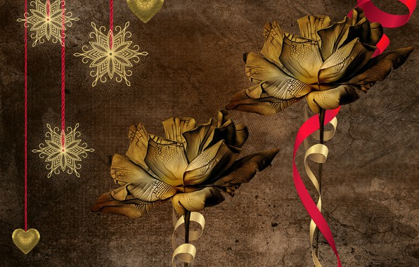 Картинка звезды, цветы, снежинки, фон, рождество, винтаж, иллюстрация