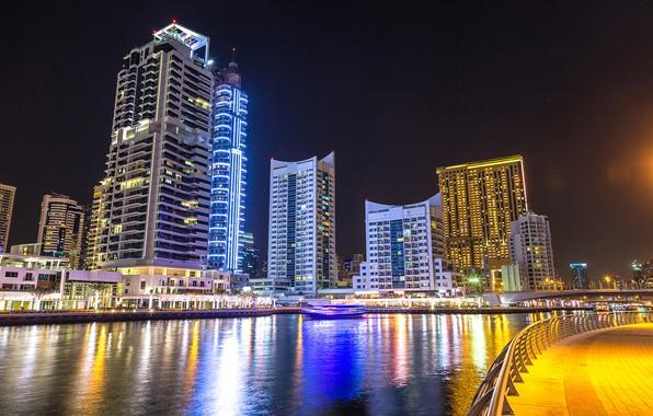 Картинка ночь, мост, город, огни, река, здания, дома, фонари, канал, Дубай, ОАЭ