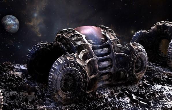 Картинка космос, машины, фантастика, луна, планета, арт