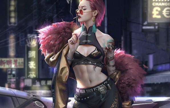 Картинка girl, fantasy, cleavage, smoking, pink hair, tattoo, cigarette, digital art, artwork, belly, fantasy art, sunglasses, …