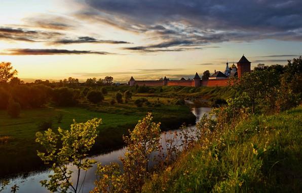 Картинка закат, город, фон, обои, монастырь, Суздаль