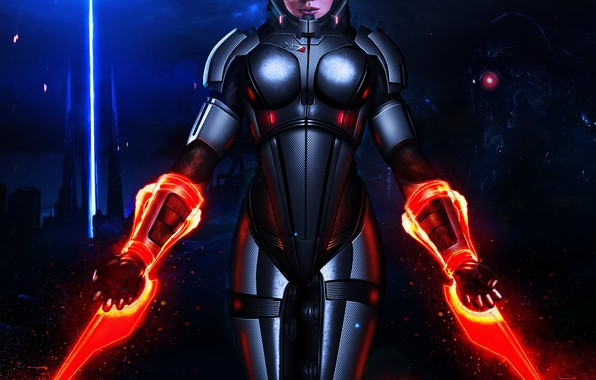 Картинка girl, armor, Mass Effect, Shepard, N7, sentiel, energy swords