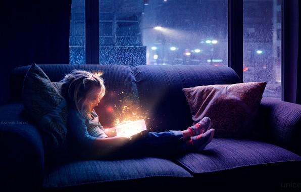 Картинка бабочки, ночь, магия, окно, девочка, книга