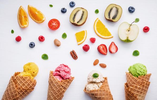 Картинка ягоды, colorful, мороженое, фрукты, рожок, fruit, berries, ice cream, cone