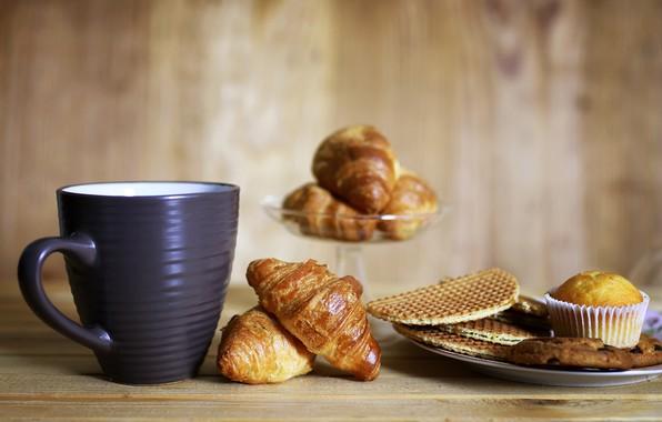 Картинка стол, завтрак, печенье, тарелка, чашка, ваза, боке, кекс, круассаны