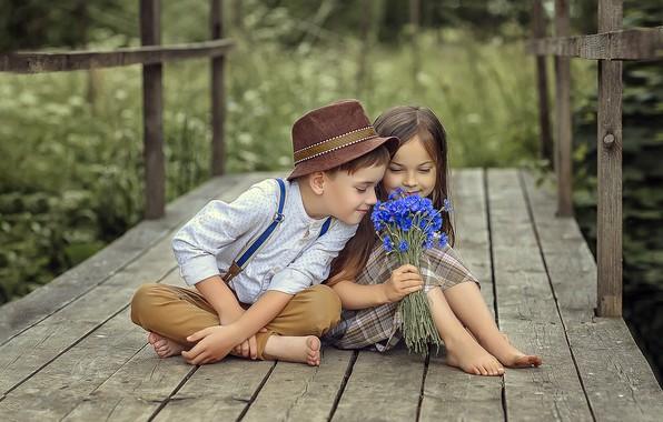 Картинка лето, цветы, дети, чувства, мальчик, дружба, девочка, парочка, букетик, васильки, мосток, Виктория Дубровская