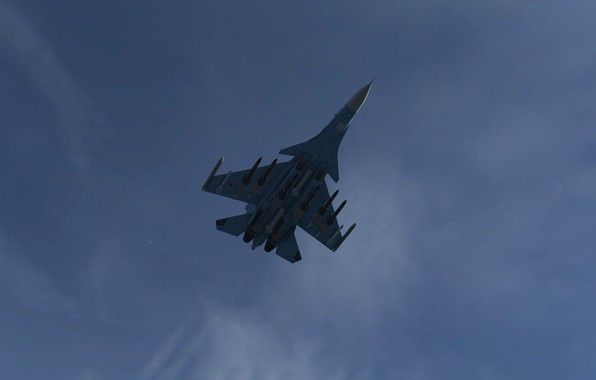 Картинка Небо, Игра, Самолет, истребитель, Россия, ВВС, Су-30, ОКБ Сухого, Flanker-C, Ace Combat, Многоцелевой истребитель, Су30, …