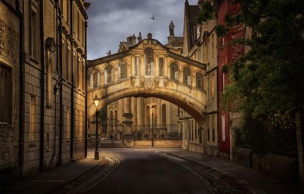 Картинка Англия, здания, фонари, Великобритания, переулок, архитектура, Оксфорд, мост вздохов, Bridge of Sighs, Hertford College