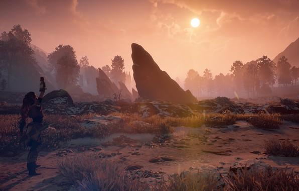 Картинка пейзаж, закат, камни, постапокалипсис, стойка, эксклюзив, Playstation 4, Guerrilla Games, Horizon Zero Dawn, Элой