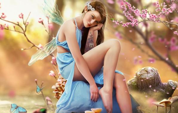 Картинка Девушка, Стиль, Girl, Фея, Тату, Fantasy, Татуировка, Арт, Beautiful, Art, Style, Фантастика, Fiction, Красивая, Fairy, …