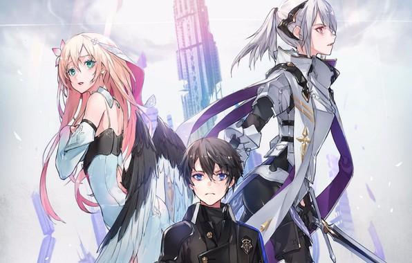 Картинка небо, башня, крылья, меч, костюм, эмблема, парень, голубые глаза, персонажи, розовые волосы