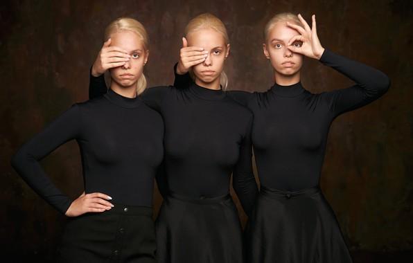 Картинка сёстры, три девушки, тройняшки, Александр Виноградов, Наташа Мироненко, Ира Мироненко, Таня Мироненко