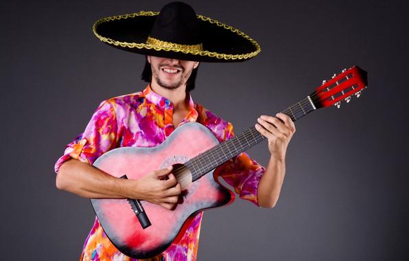 Картинка поза, фон, гитара, шляпа, наряд, мужчина, рубашка, парень, музыкант, мексиканец, самбреро