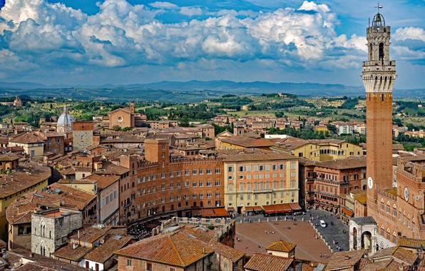Картинка облака, здания, башня, дома, площадь, Италия, панорама, Italy, Тоскана, Tuscany, Сиена, Siena, Piazza del Campo, …