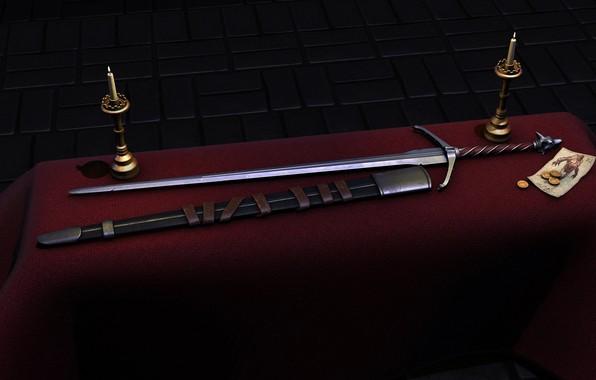 Картинка стол, свечи, серебряный, ножны, silver sword, ведьмачий меч