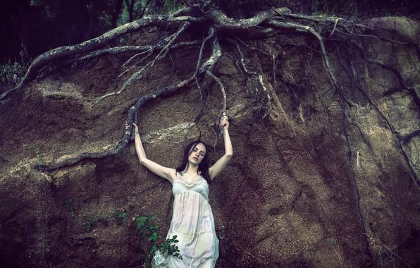 Картинка девушка, корни, дерево, земля
