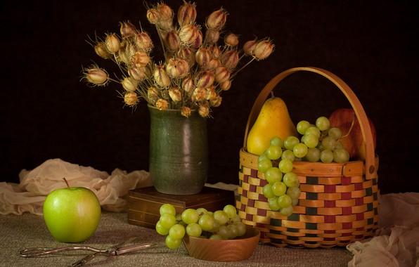 Картинка яблоко, виноград, груша
