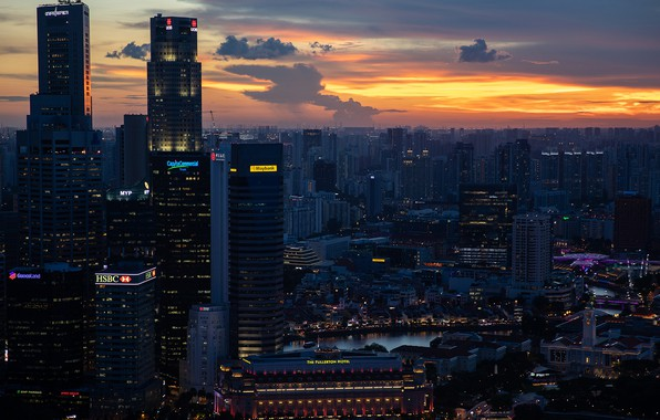 Картинка city, lights, China, twilight, sky, sunset, clouds, evening, Singapore, buildings, skyscrapers, cityscape, The Fullerton Hotel