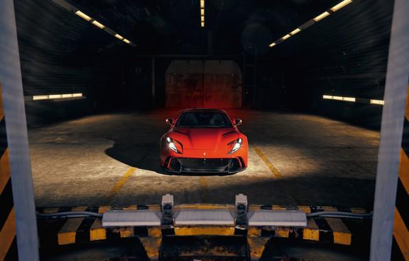 Картинка машина, свет, фары, ангар, Ferrari, спорткар, Superfast, 812, Novitec N-Largo