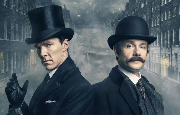 Картинка туман, Лондон, здания, Шерлок Холмс, Мартин Фриман, Бенедикт Камбербэтч, Sherlock, Sherlock BBC, Sherlock Holmes, Джон …