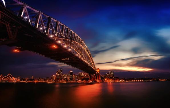Картинка city, lights, twilight, photography, bridge, sunset, water, city lights, evening, Australia, Sydney, buildings, architecture, skyscrapers, …